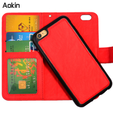 Aokin Magnetic 2 in 1 Wallet Leather phone Cases For iPhone 7 Plus 6 6s Plus 5S SE With Card Holder Detachable Back Cover(China (Mainland))