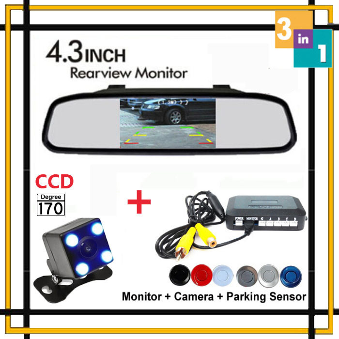 3in1 Car Parking System Assistance Sensor Reversing Back up Radar Video Connect 4.3 Inch Car Monitor and CCD Rearview Camera(China (Mainland))