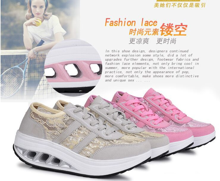 2015 perfect fashionable lace mesh wedage shape up shoes breathable height increase fitness massage step shoes(China (Mainland))
