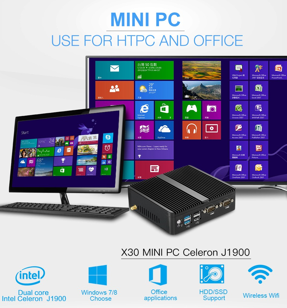 Mini Pc Computer Celeron J1900 Quad Core Windows 10 Linux Compaq Hp Oem P4sd Front Panel Wiring Diagram This Device Use Intel 2m Cache241ghz Burst Frequency 242ghz Low Power Tdp Just 10w Consumption Stable Perfomance