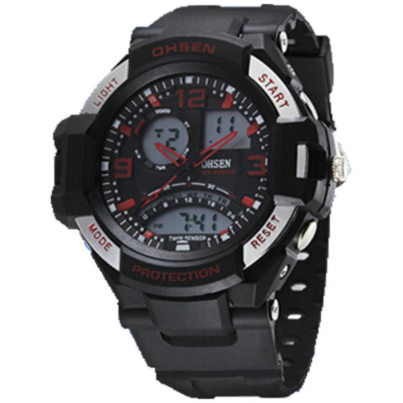 high quality Ohsen AD 2805 luxury brand GMT 2 time zone japan quartz digital led clock 30m waterproof Men sports dive watch<br>
