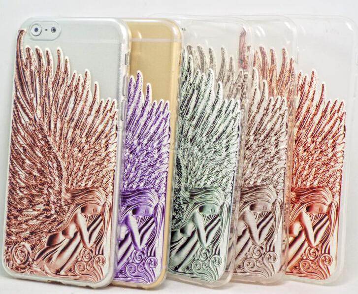3D Carving Angel Wings Soft Silicon Phone Shell Cases For Apple iPhone6 iPhone 6 Case Shell Cover EJRWW(China (Mainland))