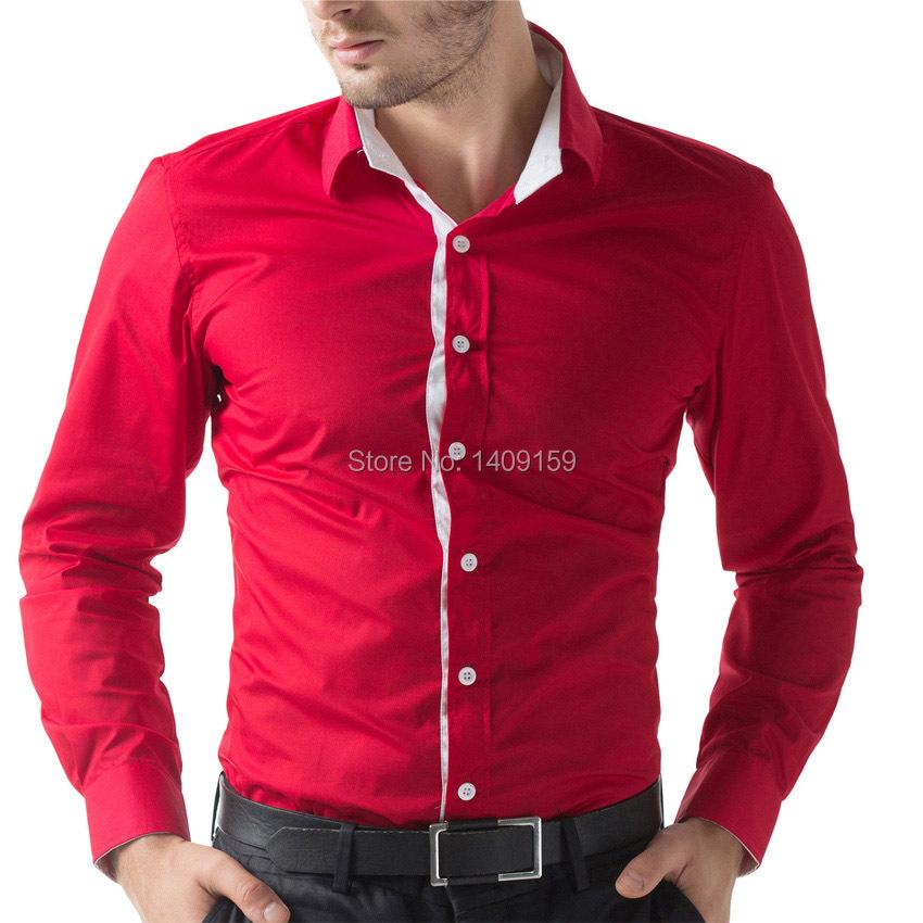 New Fashion Brand Slim Fit Mens Shirts Long Sleeve