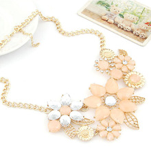 wholesale Fashion Elegant Women Pink Flower gold necklace Jewelry Choker Bib Statement Collar Chain Pendant Necklace