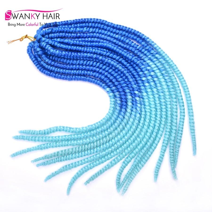 18 inch Havana Mambo Twist Crochet Braid Hair Extensions Ombre Blue Afro Curly Braid Twist Synthetic Braiding Hair Twist Braids