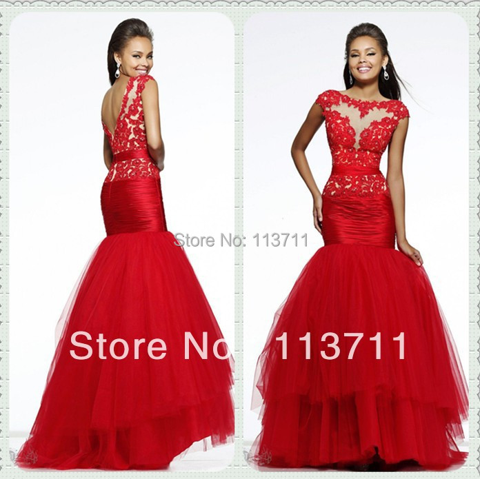 dazzling cap sleeves lace bodice long tulle red mermaid
