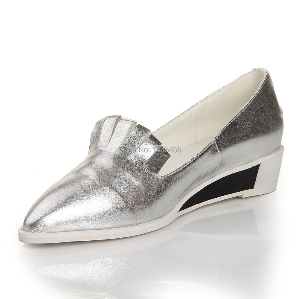 silver color noble pointed toe slip on genuine leather
