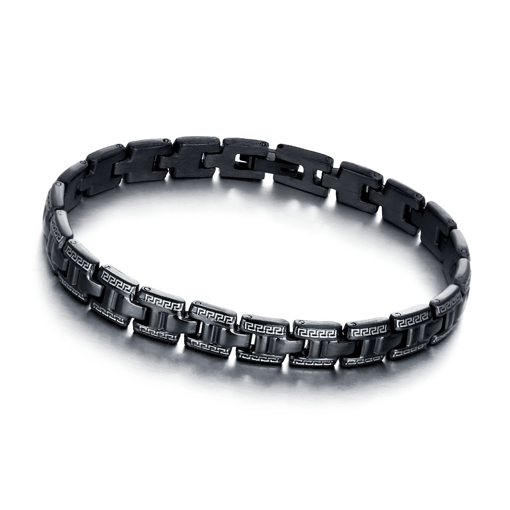 Fashion 197mm Black Stainless Steel Bracelets & Bangles Great Wall Pattern Punk Men Accessories New 2016(China (Mainland))