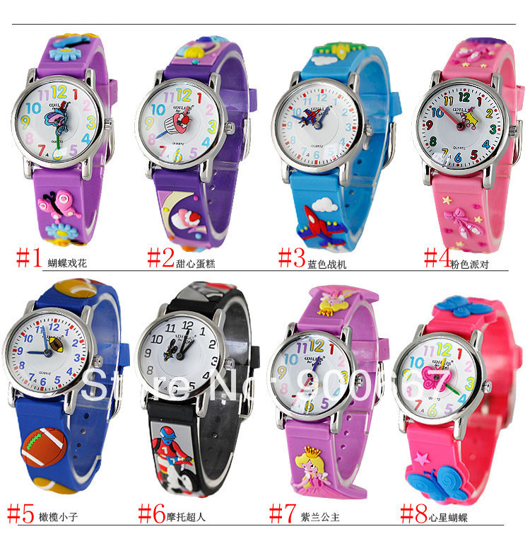 Willis Brand Fighter Butterfly Cake Princess Crown Cute Hands 3D Cartoon Rubber Analog Watches Boys Girls Sports Gift Watch - watch shop 900667 store