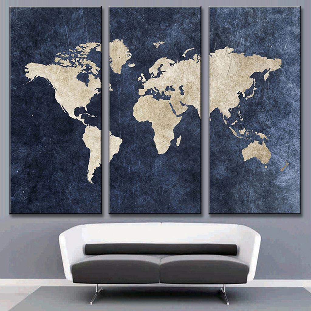 3 Pcs Set Modern Abstract Blue World Map Painting Print On