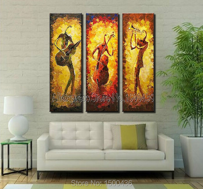 Hand painted music canvas abstract oil painting wall art 3 piece home decor modern picture sets - Paint for exterior walls set ...