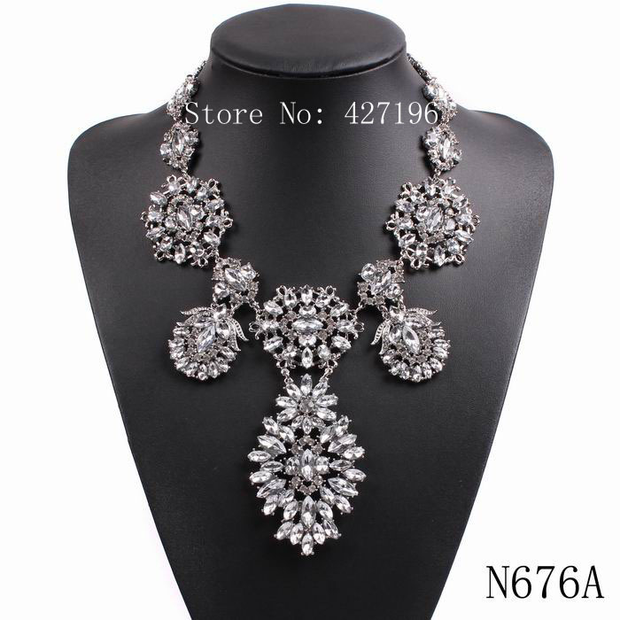 fashion big chunky statement chain women crystal pendant 2016 new design necklace elegant party choker jewelry accessories(China (Mainland))