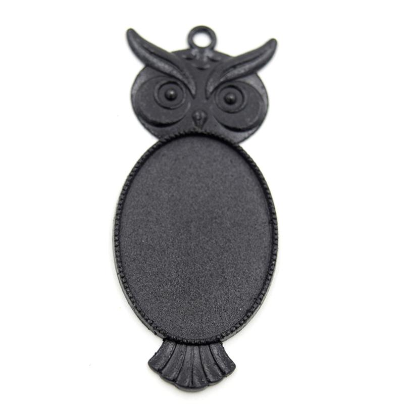 10pcs 27x60mm Owl Design~Antique Black pendant blank,alloy base setting animal cabochon resin glass cameo Glass tray(China (Mainland))