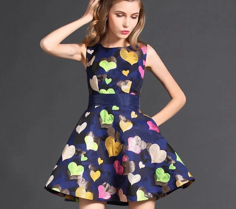 Hot Sell Multicolour Sweet Heart Pattern Women Dress 2016 Fashion Sleeveless Tank Dress Pullover O-Neck Cute Short Dress(China (Mainland))
