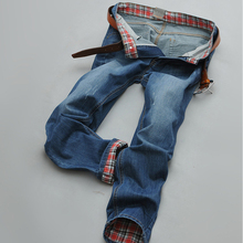 Men summer wear Jeans Causual Pants Pockets Mid Waist Full length Brand Slim Type Straight Plaid