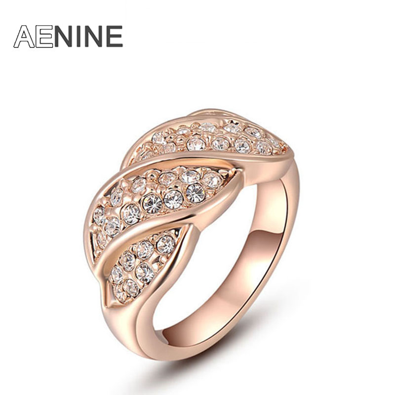 AENINE Exquisite rose gold screw colorful rings plated with AAA zircon fashion jewelry for women best Christmas gift L2010238320(China (Mainland))