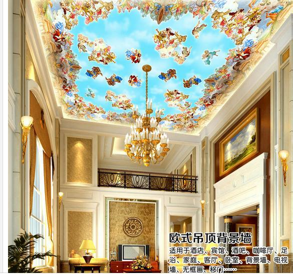 Customize medieval ceiling mural wallpaper wall sticker for Ceiling mural wallpaper