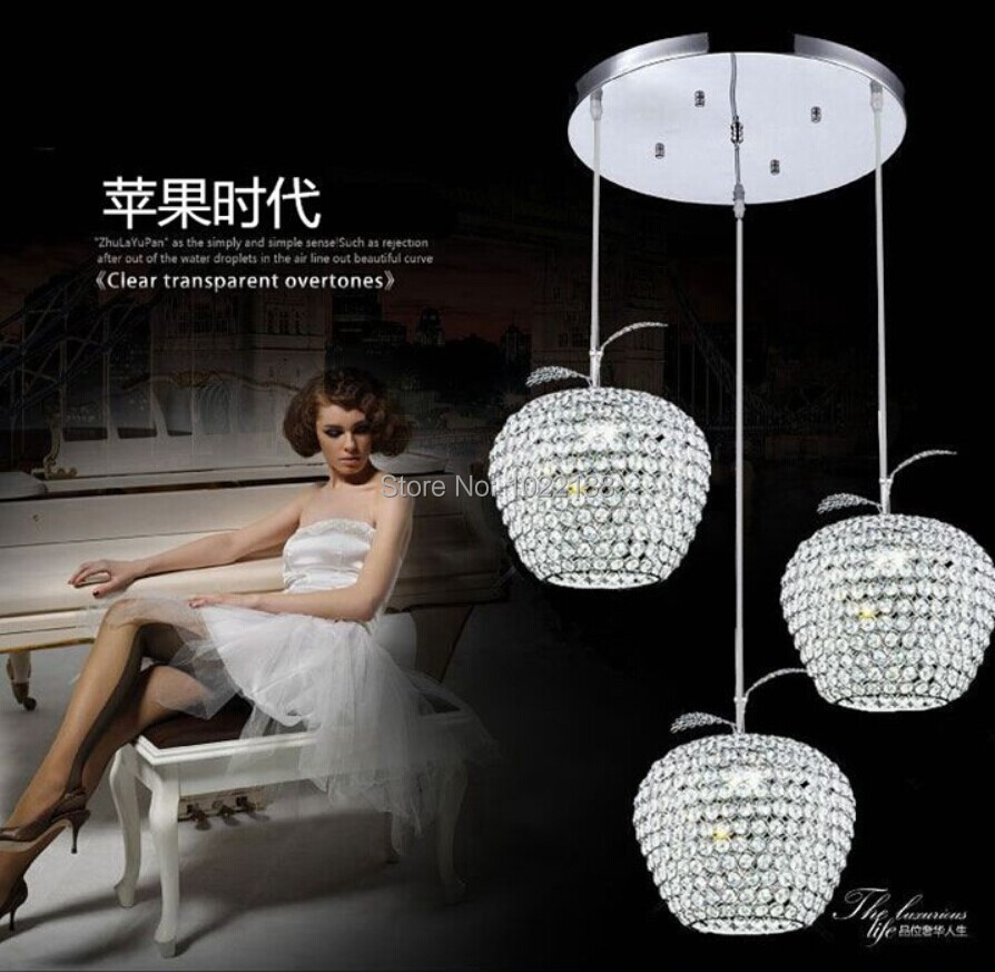 Modern minimalist apple LED k9 crystal lamp chandelier in the dining room bedroom living room crystal chandelier free shipping(China (Mainland))