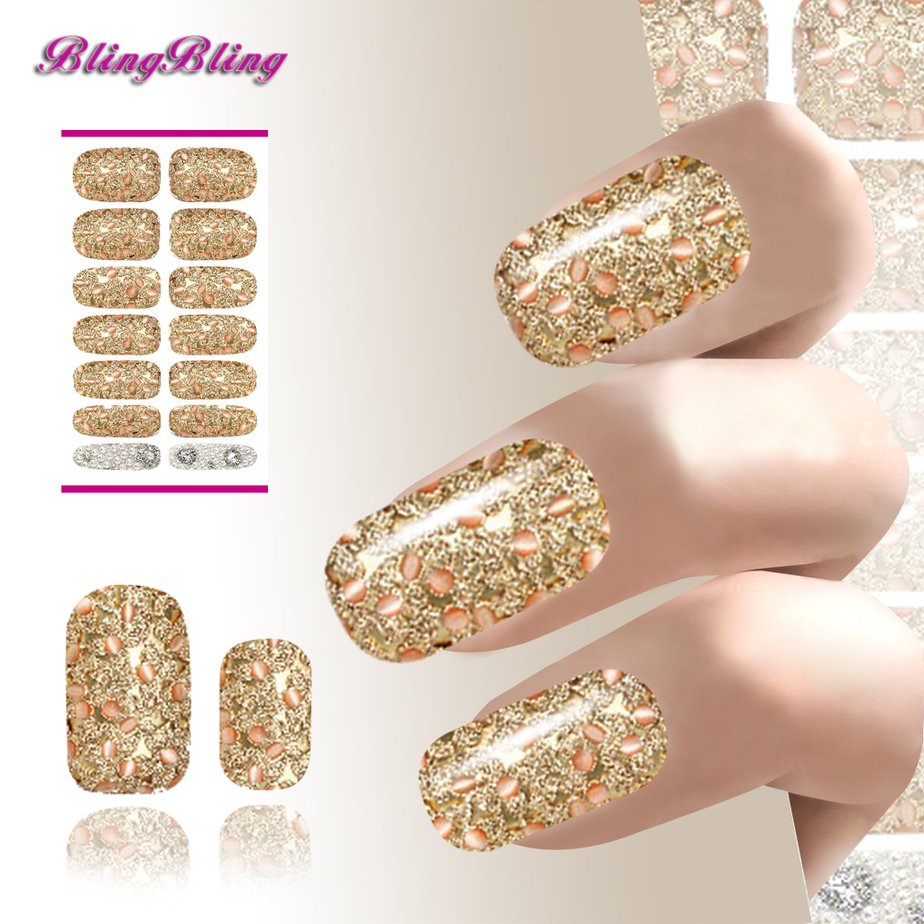 Golden Color Nail Wraps Decoration Nails Art Water Transfer Stickers Metallic Petals Gem Pearl Series Nail Decals(China (Mainland))