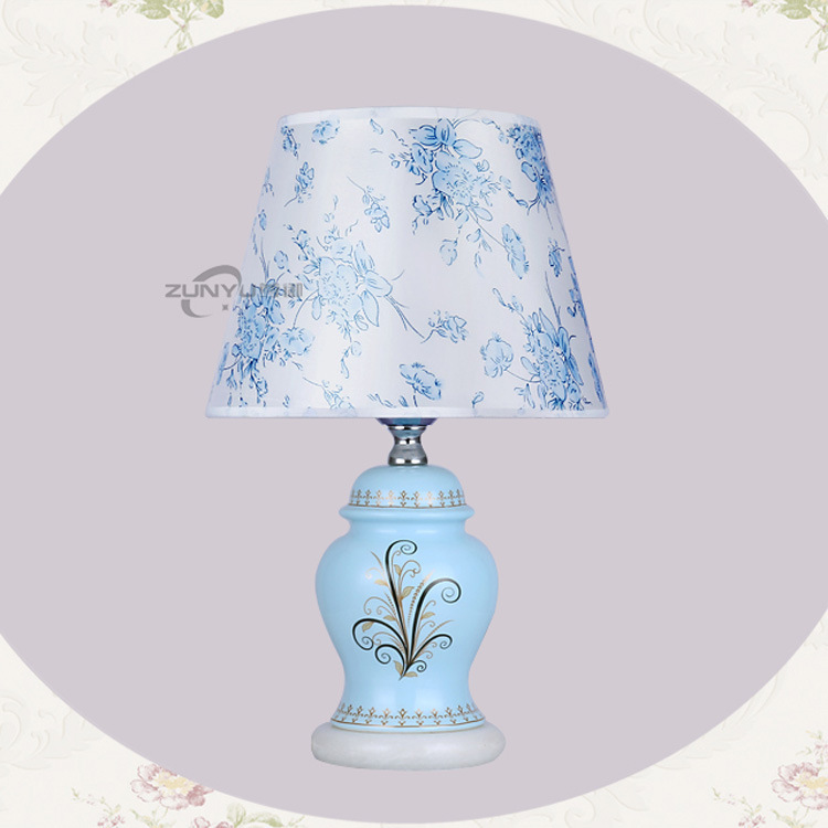 Chinese Blue Ceramic Table Lamps For Bedroom Bedside Fixture Manufacturers Table Lamp Wholesale