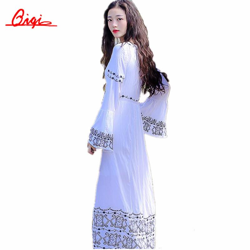 Bohemia White Embroidered Robe Trumpet Sleeve V-neck Plus Size Women Clothing Retro Casual Lace Kimono Cotton Long Dress(China (Mainland))