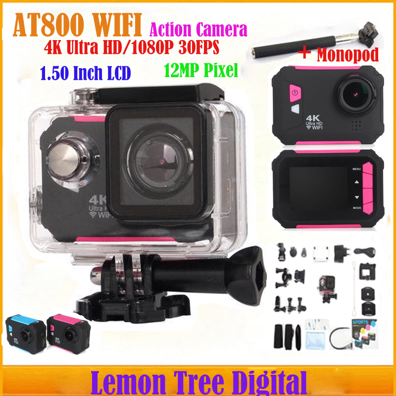 Singapore Post Action Camera AT800 WIFI 4K Ultra HD 1080P 2.0 LCD Sports Camera Outdoor Camara Deportiva Car Recorder+Monopod<br><br>Aliexpress