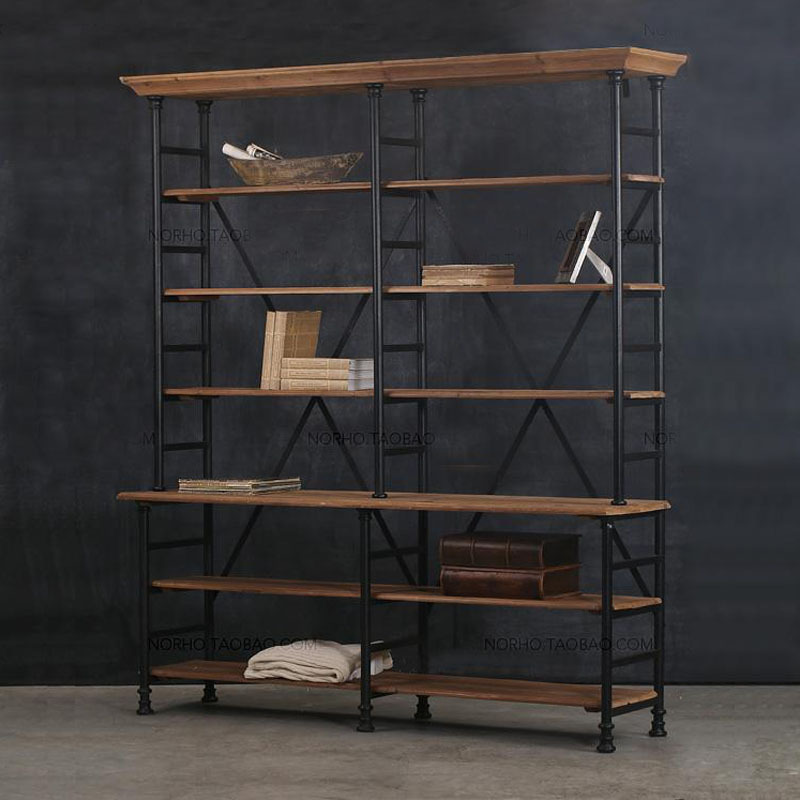 American country vintage wrought iron shelf storage rack sol.