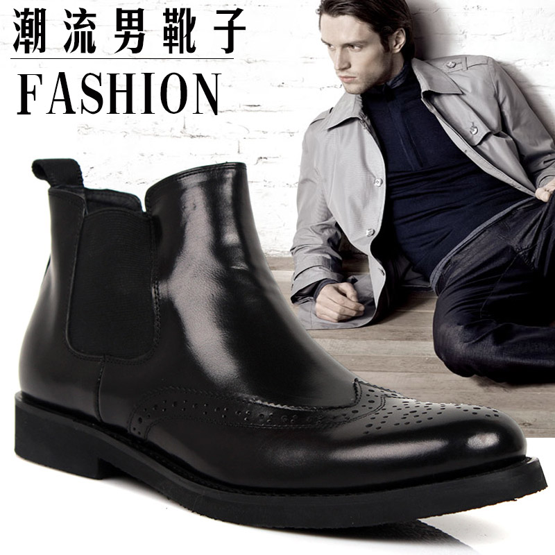 brand Genuine leather fashion Ankle boots the trend of the sleeve carved leather boots high commercial men's dress/wedding shoes(China (Mainland))