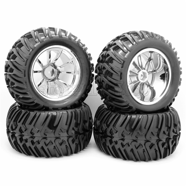 4PCS 128mm RC 1/10 Monster Truck Bigfoot Tires Tyre &12mm HEX Silver Wheel Rim Hub(China (Mainland))