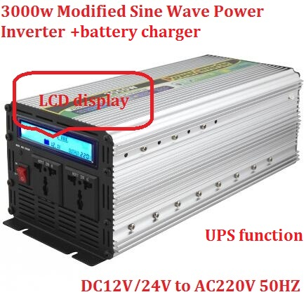 peak power 6000W LCD digital display UPS 12v 24v 220v 3000w Modified Sine Wave Power Inverter+fast charger(China (Mainland))