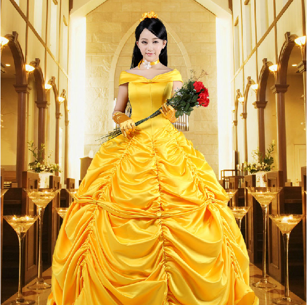 New 2016 Fantasia Women Halloween Cosplay Southern Beauty And The Beast Adult Princess Belle Costume