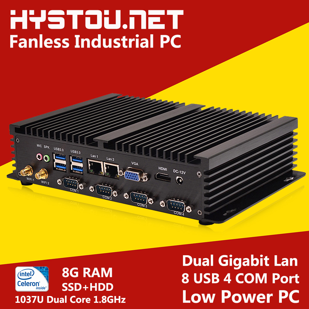 Hystou Mini PC Celeron 1037U Fanless Industrial PC 2G/4G/8G RAM 8G SSD to 1TB HDD Storage Windows XP/7/8 and Linux OS supported(China (Mainland))