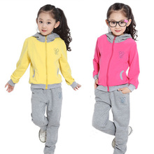 2015 girl clothing new spring & autumn children hoodies & pants twinset kids casual sports suit girls clothing sets & tracksuits(China (Mainland))