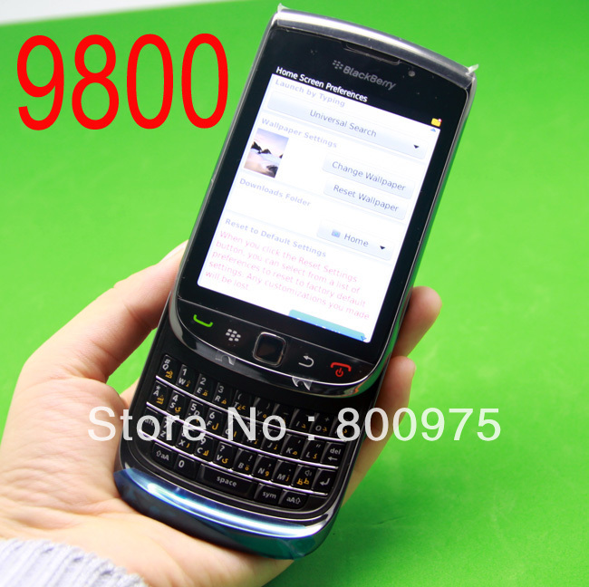 Original BlackBerry Torch 9800 Mobile Phone Smartphone Unlocked 3G Wifi Bluetooth GPS 4G Storage Cellphone & Black(China (Mainland))