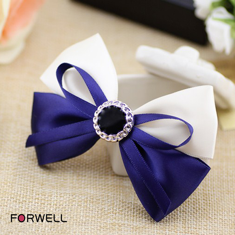 Handmade fabric hair bow knot hairpins accessories for women blue white cloth bow hair clip black rhinestone barrettes jewelry(China (Mainland))