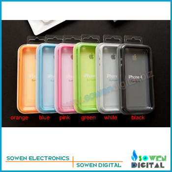 TPU Bumper Anti-skid protection shell Cover for iPhone 4 4G 4S protective casing,solid colour, with retail packing,free shipping