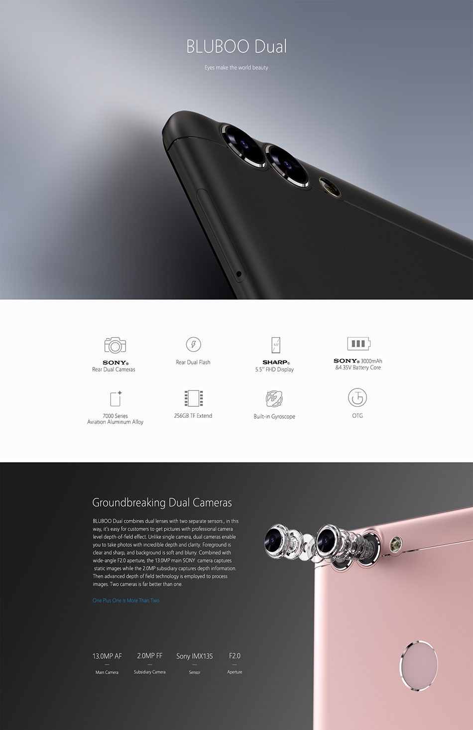 """image for BLUBOO Dual 5.5"""" FHD Dual Back Camera 4G LTE Cell Phone MTK6737T Quad"""