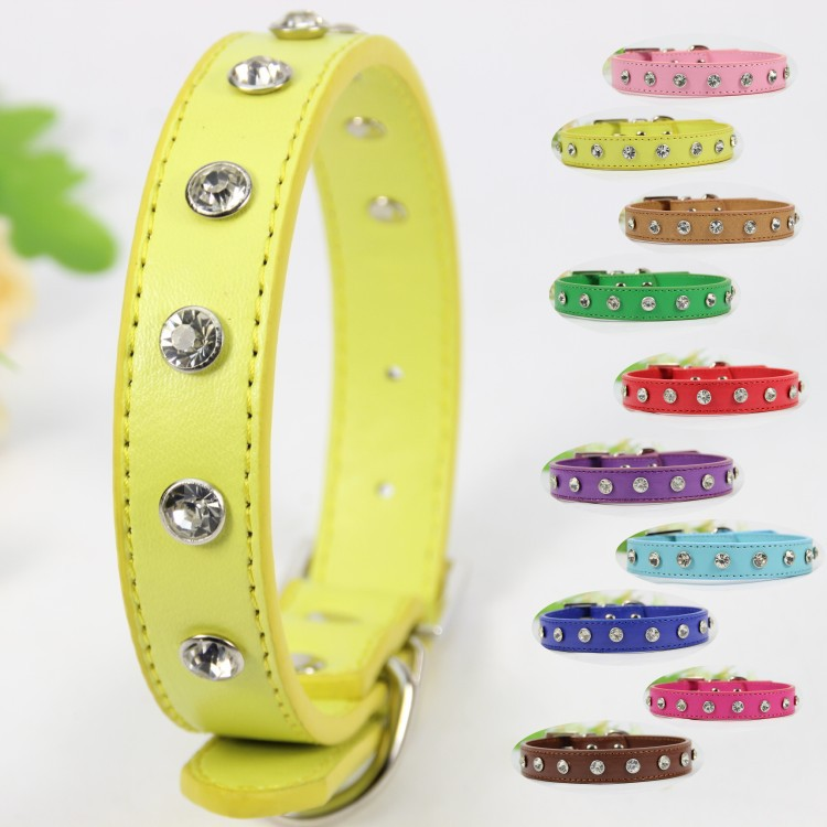 Pet Dog collar Designer perro Collar Puppy Large Big Size S M L PU Leather Pink Blue Green Purple Red Studded