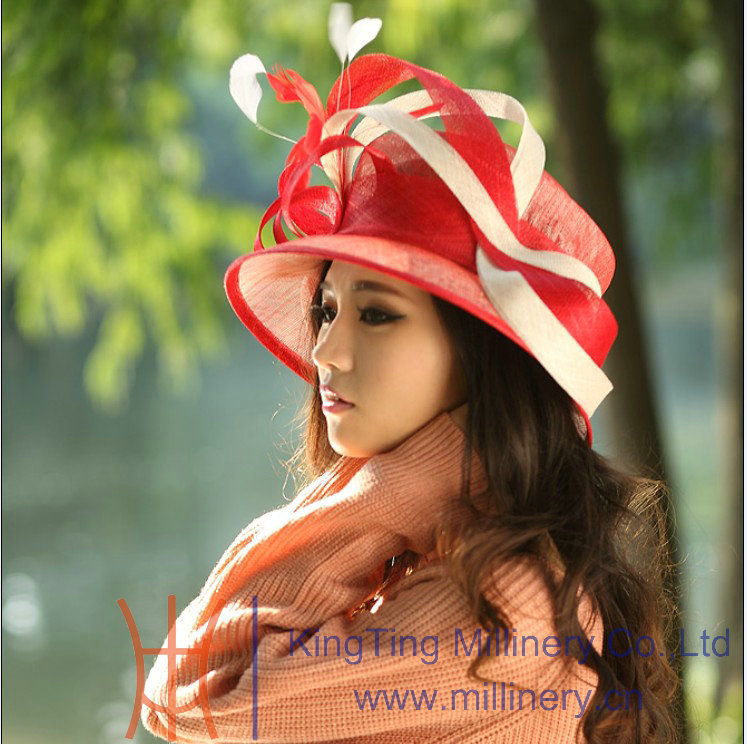 Free Shipping Hot Sale Fashion and New Fancy Red Color Ladies Hat Fashion Sinamay Hat Women Hat Sun- Shading Beach Summer Hat(China (Mainland))