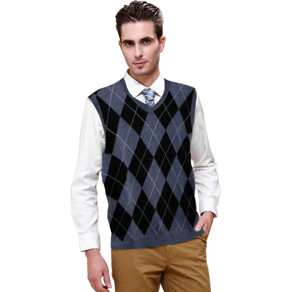 New Freeshipping Mens Cotton Blend Argyle Golf Casual Pullover Sleeveless Sweater Vest V-Neck Golf Sweater(China (Mainland))