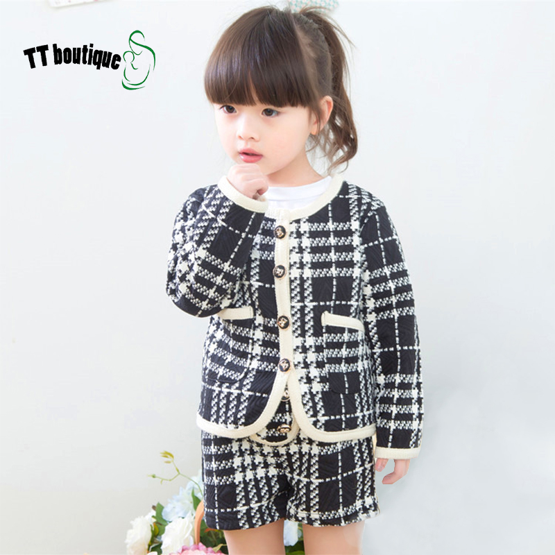 Girls clothes New Autumn Baby Girls Clothing Sets dress shorts + small blazer grid children Clothes toddler clothing 2-7T(China (Mainland))