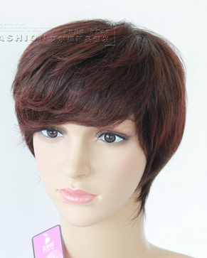100% Hu man  HAIR BROWN RED WIG PICTURE COLOR --- FRESH  WIG(China (Mainland))
