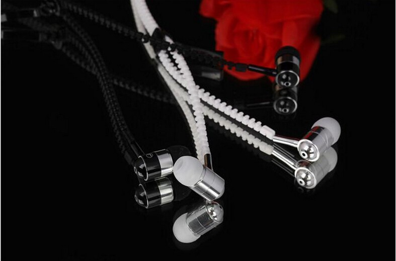 Metal Zipper Earphone Headphones with Microphone 3.5mm Connector Stereo Bass In-Ear Wired Ear Phones For Mobile Phone MP3/4