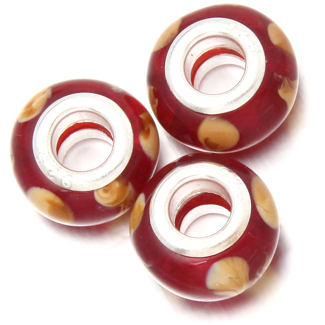 Wholesale 60pcs/lot Colourful Beads Clear Red Mixed White Coloured Glaze Big Hole Beads Fit European Bracelet 13*13*8mm 152079(China (Mainland))