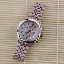 2016 Fashion Full Stainless Steel Geneva Watch Women Champagne Gold Classy Matte Bracelet Watch Quartz Dress Watch Relojes
