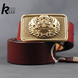 [ KISS ] 2015 Genuine leather belt men fashion brand strap male Pure copper lion head buckle head layer cowhideОдежда и ак�е��уары<br><br><br>Aliexpress