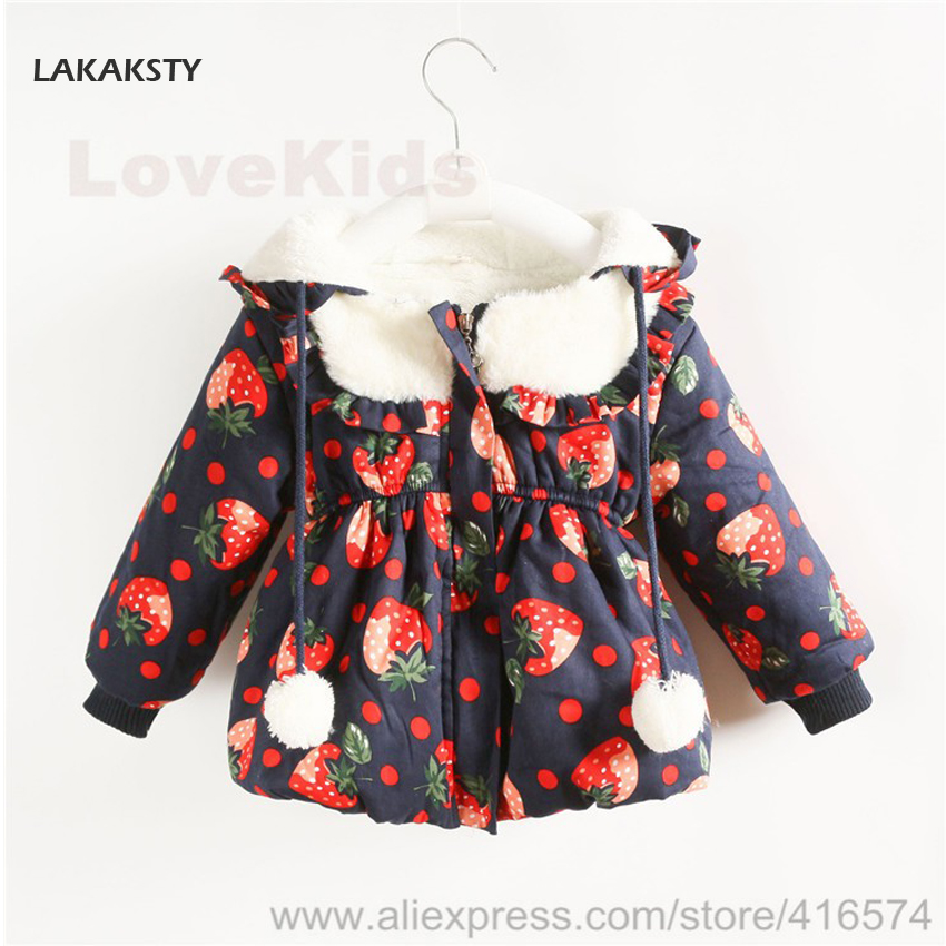 LAKAKST New Arrival Winter Girls Coats and Jackets Strawberry for Sweet Girl Children Pabbed Outer Wear Lovely Baby Warm Clothes(China (Mainland))