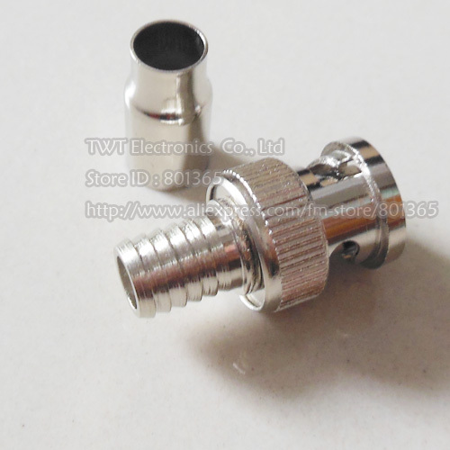 CCTV RG59 Coax BNC crimp on connector , BNC Male 2pc/set Crimp On Connector for CCTV Security 50qty Free shipping(China (Mainland))