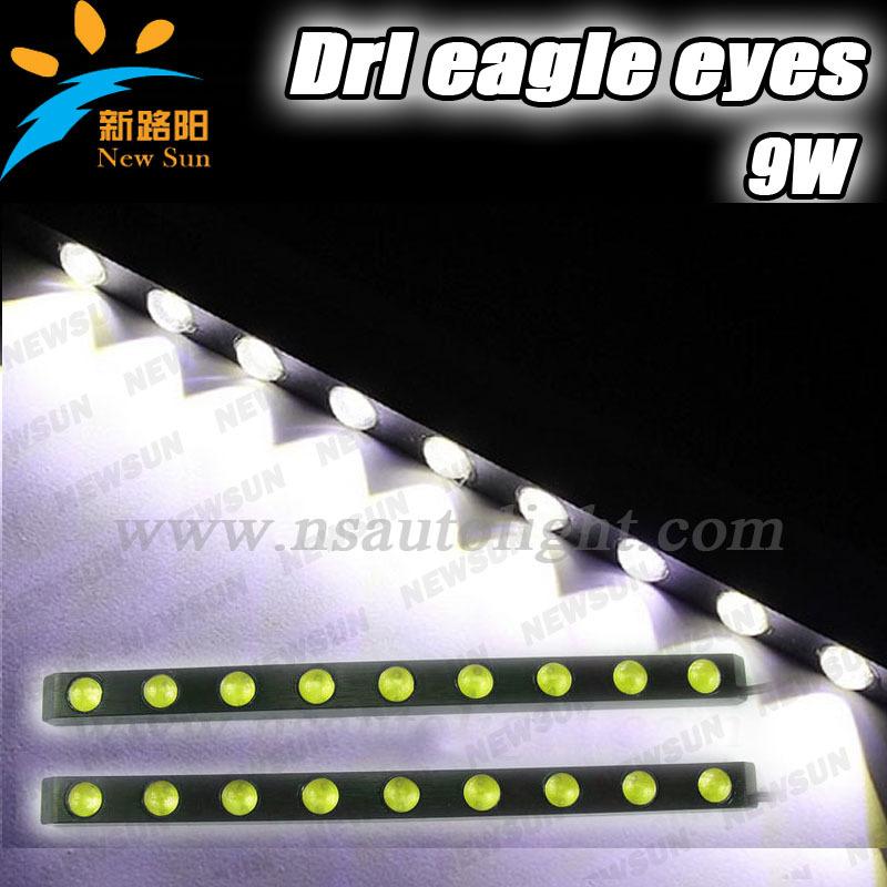 DC 12V 9W Universal Car Rear light Led Eagle eye Reverse straight DRL Day time running lamp backup tail lights IP67 led drl kit(China (Mainland))