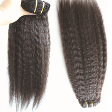 12″-26″ Full Head Brazilian Virgin Clip in Human Hair Extensions Kinky Straight/Yaki Straight 2pcs Lot